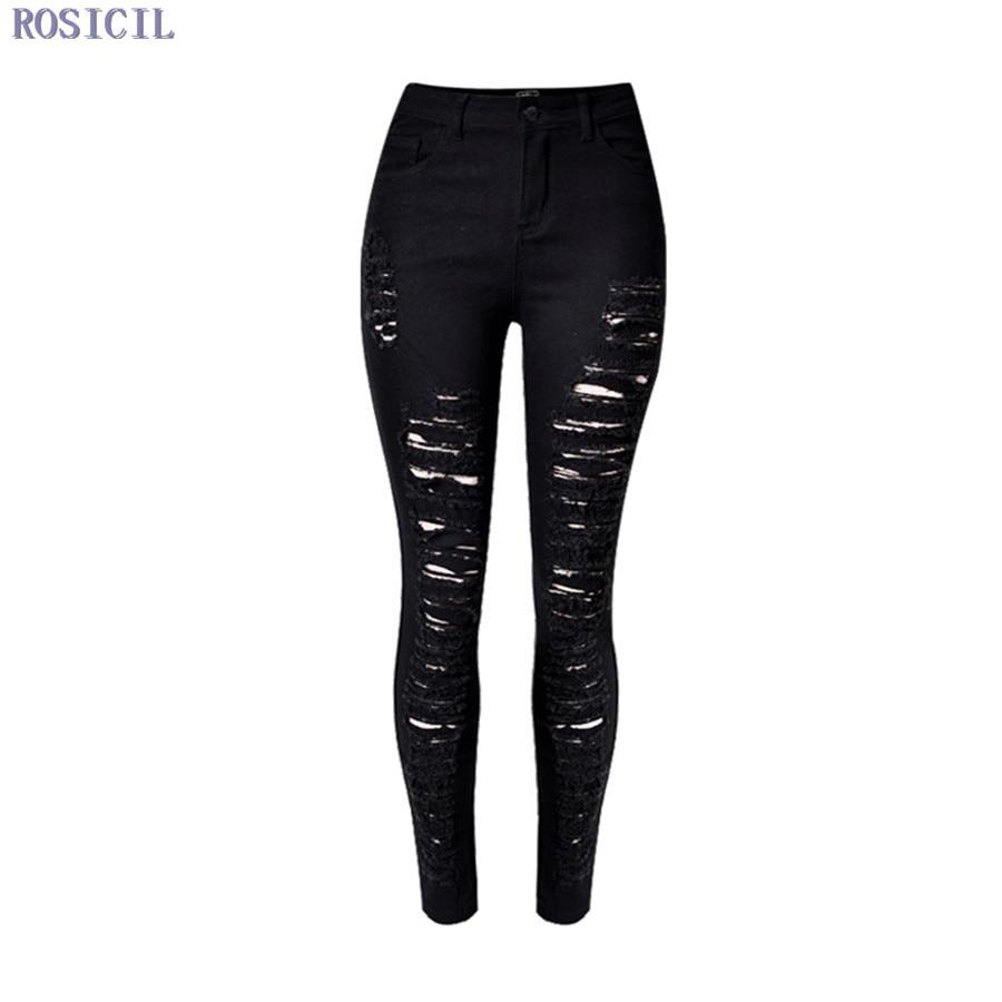 ROSICIL 2016 Cotton High Elastic Imitate Jeans Woman Knee Skinny Pencil Pants Slim Ripped Jeans For Women Black Jeans TOP215Îäåæäà è àêñåññóàðû<br><br>