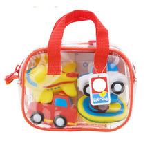 4Pcs Gift Bag Package Cute Transportation Theme Soft Rubber Baby Bath Toy Kids Swimming Toys water toys WJ123(China)
