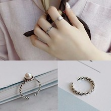 2017 new 2PCS/set Vintage Antique Silver Twisted Woven Inset Imitation Pearl Opening Rings Sets For Girl Simple Rings