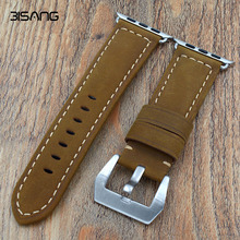Handmade Italy Assolutamente Vintage Genuine Calf Leather Watch Strap 42mm Iwatch Apple Band - Shenzhen Baishang Co., Ltd. Store store