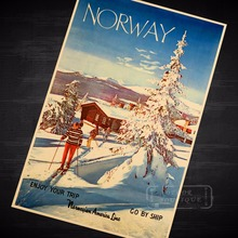 Ski in Norway Skiing Travel Vintage Retro Decorative Poster DIY Wall Home Bar Posters Home Decor Gift(China)