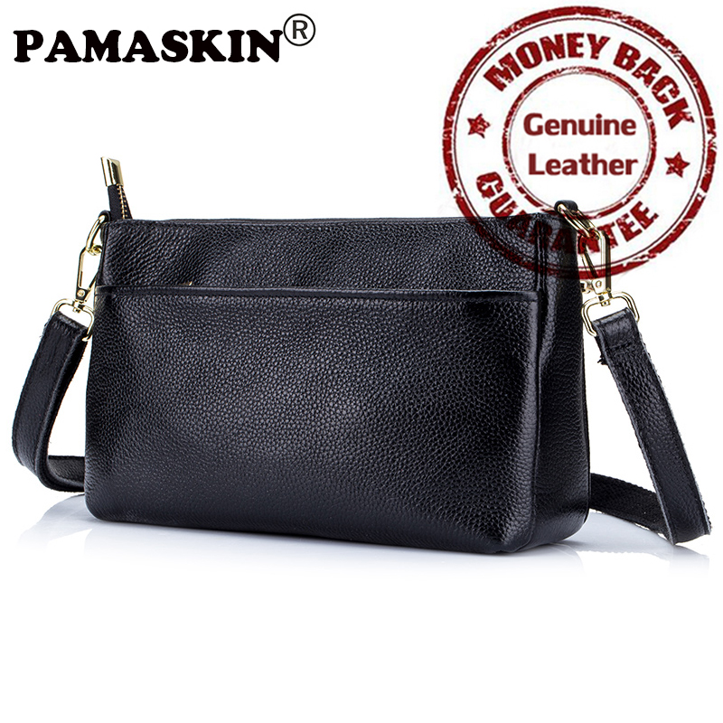 Hot PAMASKIN Brand New Arrivals 2017 100% Soft Genuine Leather Shoulder Bags with Single Strap Multilayer Women Messenger Bags<br><br>Aliexpress