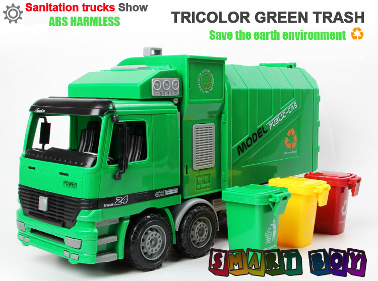 1:22 Engineering Vehicle Simulation Atuomatic Side Load Garbage Truck Model Gift Children boy girl Toys With Three 3 Rubbish Bin<br>