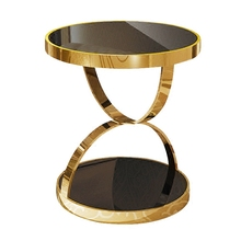 Simple stainless steel gold rounded tea table phone gilded toughened glass sofa corner table side table(China)
