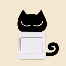 DIY Funny Cute Cat Switch Stickers Wall Stickers Home Decoration Bedroom Parlor Decoration(China)