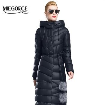 Miegofce 2016新しい冬コレクション冬の女性ダウンコートジャケット暖かい高品質女性ダウンパーカー冬コートファー付きベルト