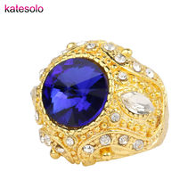 Fashion Vintage Anillos Big Gold Plated Red Bule Crystal CZ Ring Wedding Engagement Royal Jewelry Glamour Women Men Love Gifts