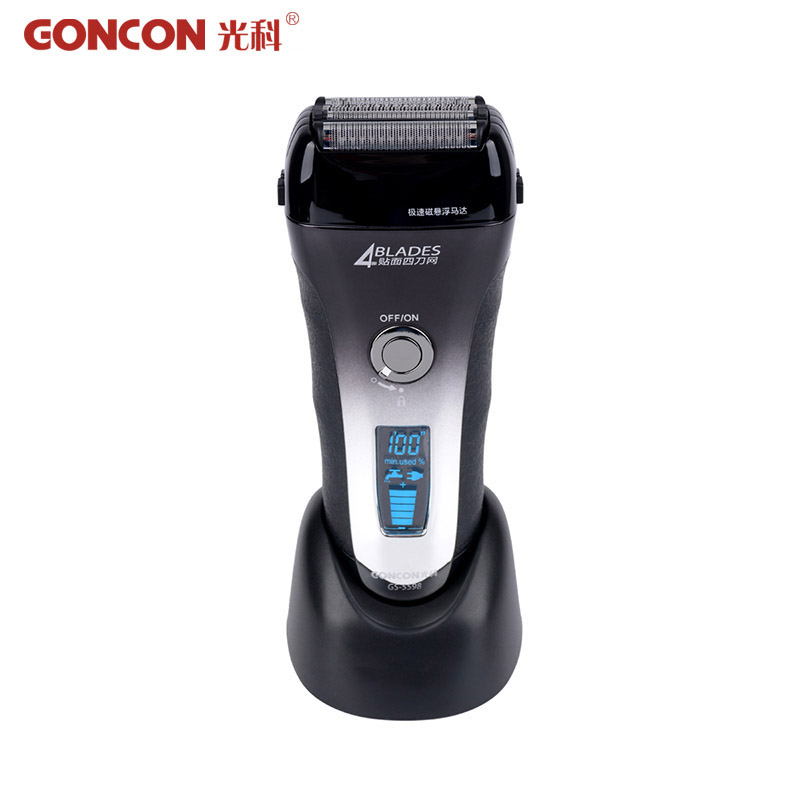Washable Electric Shaver Rechargeable Electronic LCD Display 4 Blade Barbeador Hair Shaving Cleaner Cutting Machine hot 50<br>