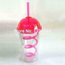 double wall plastic mug with cap lid,clear straw mug milktea juice cup birthday gift fashion tumbler customize with paper insert
