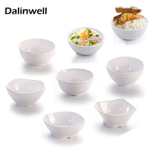 Variety Style White Imitation Porcelain Plastic Melamine Flower Shape Noodle Soup Rice Fruit Bowl Restaurant Supplies Dinner Set