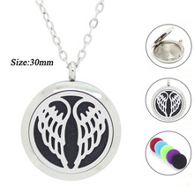Wholesale Locket 20MM 25MM 30MM Perfume Locket 316L Stainles Steel wings of angel design Essential Oil Diffuser Pendant Necklace(China)