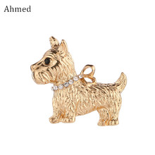 Ahmed Fashion Jewelry Charm Gold Color Puppy Brooch For Unisex New Design Cute Animal Jacket Accessories Ornaments(China)