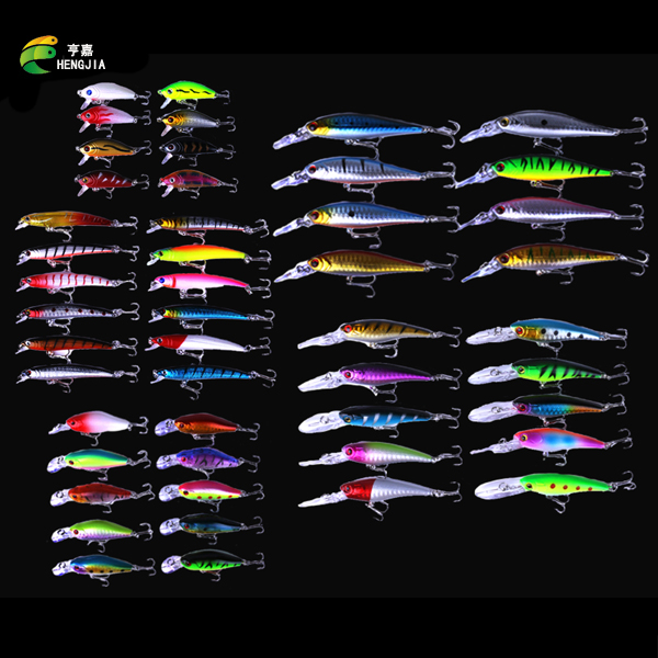 New 48pcs lot Fishing Lures Mixed 5 Model Minnow Lure Artificial Quality Professional Crankbait Wobblers Fishing Tackle pesca<br>