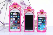 3D Cartoon Pink Cheshire Grin Cat Design Cute Silicon Skin Shell For APPLE iPhone 5 s 6 s plus Fashion Kitty Phone Cover Cases