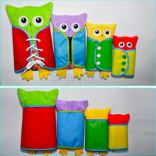 4 Pieces Owl Push Toy Learning Dressing Lacing Zipping Buckling Buttoning Practical Kids Development Toy Parent-child activities(China)