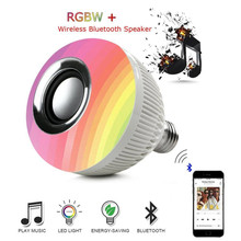Smart Wireless Bluetooth Speaker LED RGB Music Bulb Dimmable E27 12W RGB Music Playing Light Lamp with Remote Control(China)