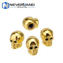 4 Pcs Skull Car Auto Bike Tire air Valve Stem Caps Wheel Rims Dust Cover Gold Motorcycle Motorbike Valve Caps Free Shipping