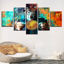 Buy Modular Canvas Prints Paintings Home Decor 5 Pieces Mr. Wolf Bitcoins Pictures Color Abstract Coin Poster Wall Art Framework for $5.96 in AliExpress store