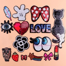 Iron On Brand Patch Sequins Patches Sewing Embroidery Patch Cat Motif Applique Patch DIY Clothing Heart Eye Owl Bowknot
