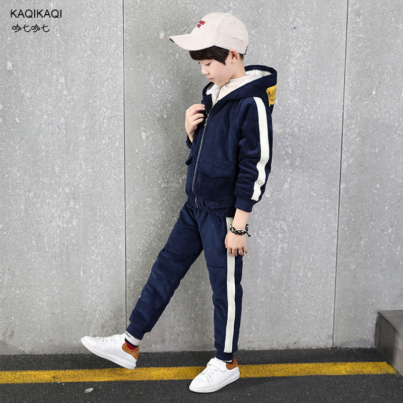 Boys winter trousers Boys winter coats children's corduroy sets baby boy warm thick velvet casual coats & pants kids clothes