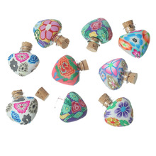 DoreenBeads Clay Glass Bottles Jewelry Vial Cork Stoppers Heart At Random Flower(Usable 2ml)23mm x23mm 8mm x8mm,5 PCs 2015 new