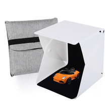 Mini Portable Folding Lightbox Photography Studio Box LED Light Softbox for iPhone Samsang HTC DSLR Camera Photo Background(China)