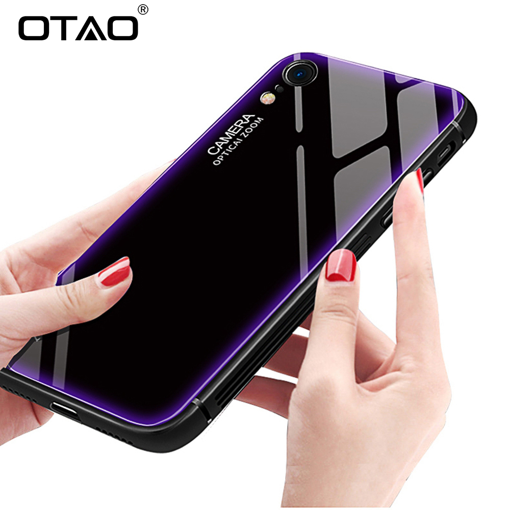 OTAO New Tempered Glass Phone Case For Huawei Mate 20 20X Lite P20 Pro Armor Shockproof Cases TPU Soft Edge Cover For Honor 10 9(China)
