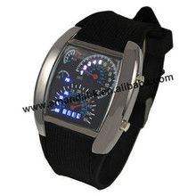 100 pcs/lot Men's Watches Blue & Black Flash LED Military Watch Brand Sport Car Meter Dial digital wristWatch for Men Worldwide