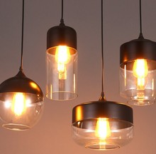 New Glass Pendant Light Loft Creative Personality Restaurant Cafe Bar Lamp E27 110 or 220V without Edison Bulb