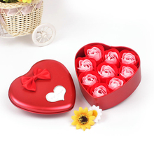9 Pcs/Set Bath Body Flower Heart Favor Soap Rose Petal Wedding Decorate Party Gift Party Christmas Birthday Valentine's Day Gift
