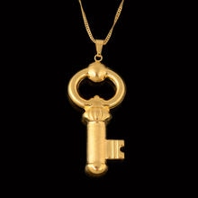 2017 New Brand Wholesale 24K Pure Gold Color Key Necklace Pendant For Women African Dubai Jewelry Italy Quality No Change Color