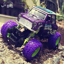 Mini Alloy Metal Diecast Car Baby Toys Kids 1: 36 Scale Pull Back Four Wheel Beat-up Car Model Vehicle Gift Toy for Children Boy(China)