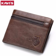 KAVIS Brand Crazy Horse Genuine Leather Wallet Men Wallets Coin Purse with Card Holder Mini Male with Bag Portomonee Small Walet(China)