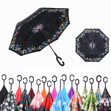 Top Reverse Umbrellas Rain Women Brand Car Drop Shipping Windproof Reverse Folding Double C Type Long Handle Inverted Umbrella