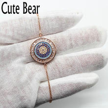 Cute Bear Brand Luxury Jewelry Women Bracelet Fashion Chain Bracelets Charm Micro Pave CZ Zircon Eyes Bracelet For Women Gift