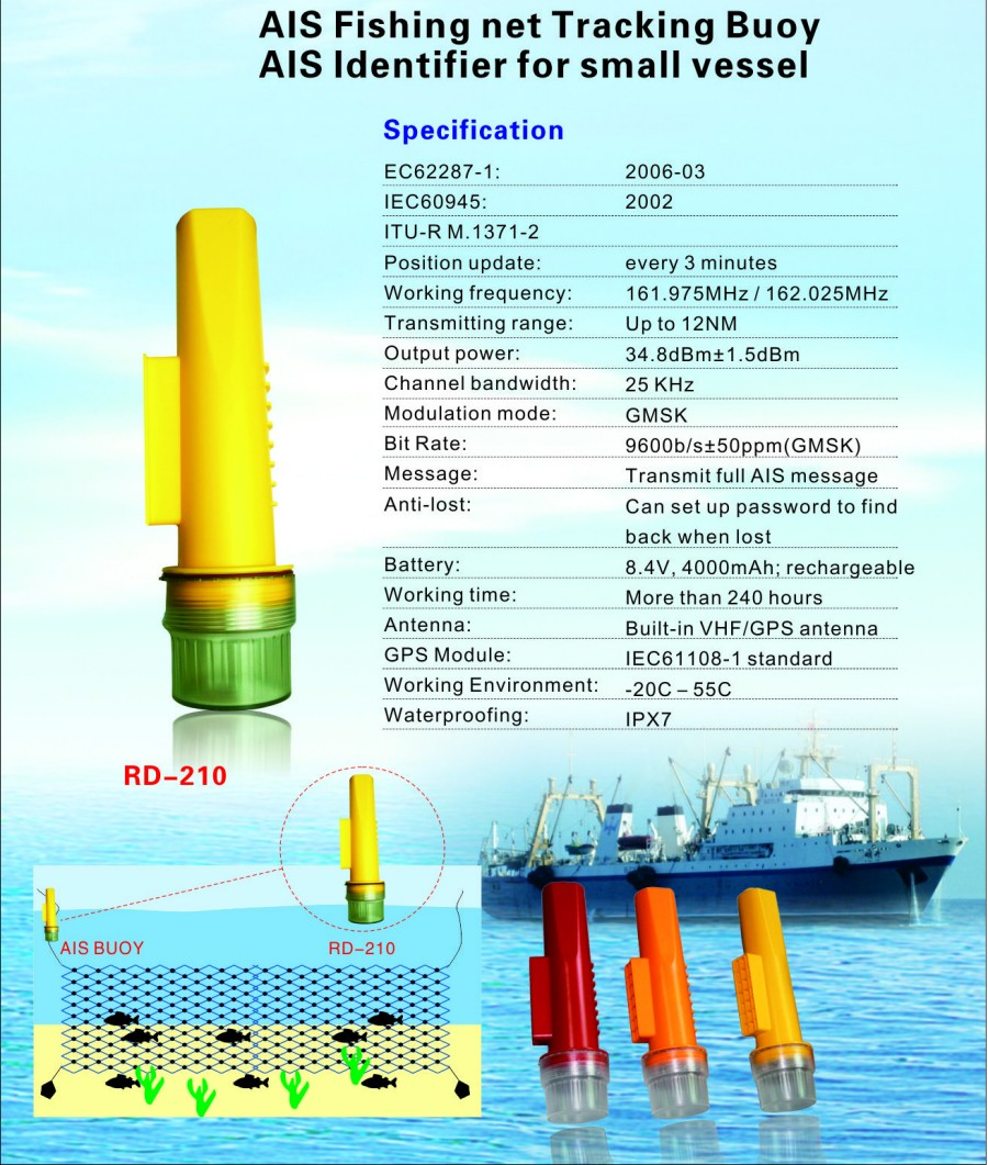GPS Fishing Net Tracking Buoy Integrated GPS & VHF Antenna to Transmit Full AIS Message for Tracking Small Vessel or Fishing Net_5-RD210