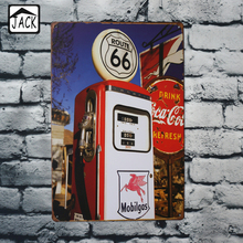 Gas Station Route66 20x30cm Tin Plaque Gallery Tin Paintings Advertising Shop Bar Wall Decor Retro Tin Poster Metal Tin Signs(China)