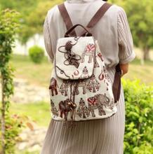 Ethnic style rucksack elephant print colorful canvas woman unique nice drawstring cotton backpack(China)