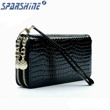 2017 High Quality Black Purse Women Leather Purses Wallets Luxury Brand Wallet Double Zipper Day Clutch Coin Card Bag