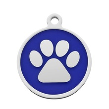 LASPERAL Customize Engrave Pet Dog Tags Bracelet Pendants DIY Jewelry Free Carving Letter Stainless Steel Bear Paw Round Charm