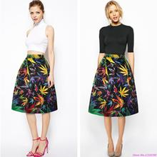 Summer Outdoor Leaves Skirts Sports Summer Colorful Tennis Skirt Women Slim High Waist Flared Long Pleated Skirt Autumn A-Line(China)