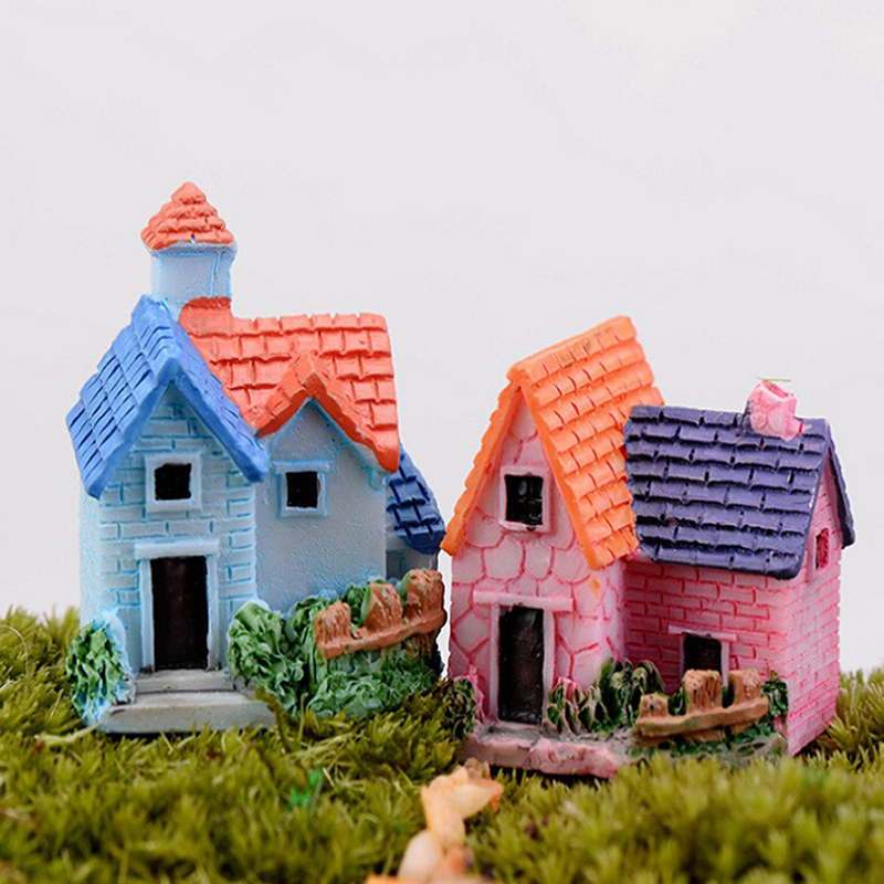 Vintage Mini Resin House Miniature House Fairy Garden Micro Landscape Home Garden Decoration Resin Crafts 4 styles Color Random