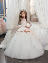 Pretty Princess Champagne/White lace ball gown flower girl dresses sheer appliqued bead bow pageant gowns for kids wedding party