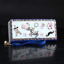 Women Handbag Limited Bolsa Feminina Handbags 2015 New Hand Inlaid Diamond Patent Leather Wallet Purse Korean Explosion Zebra(China)