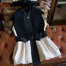 2017 New High-end design French romantic Bow Women Vest Coat Sleeveless Spliced Fashion Vest Ladies' Fashion Jacket
