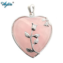 Ayliss High Quality 1pc Natural Stone Pink Quartz Gem Stone Heart Pendant Bead for DIY Jewelry SP Making (Natural Pink Quartz)(China)