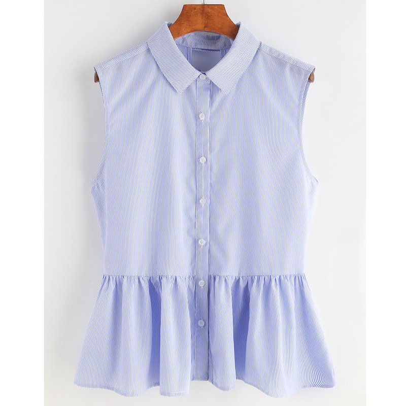 Blue Striped Bow Tie Split Back Blouse Women 2017 Summer Sleeveless Ruffles Blouses Shirts Women Vintage Tops Blusas Female 2