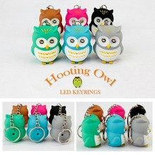 6PCS/LOT WHOLESALE Cute Owl Led Key Chain Torch Make Sound and Light Cartoon Owl Hooking Key Rings Girl Friend Gift Kid Toys