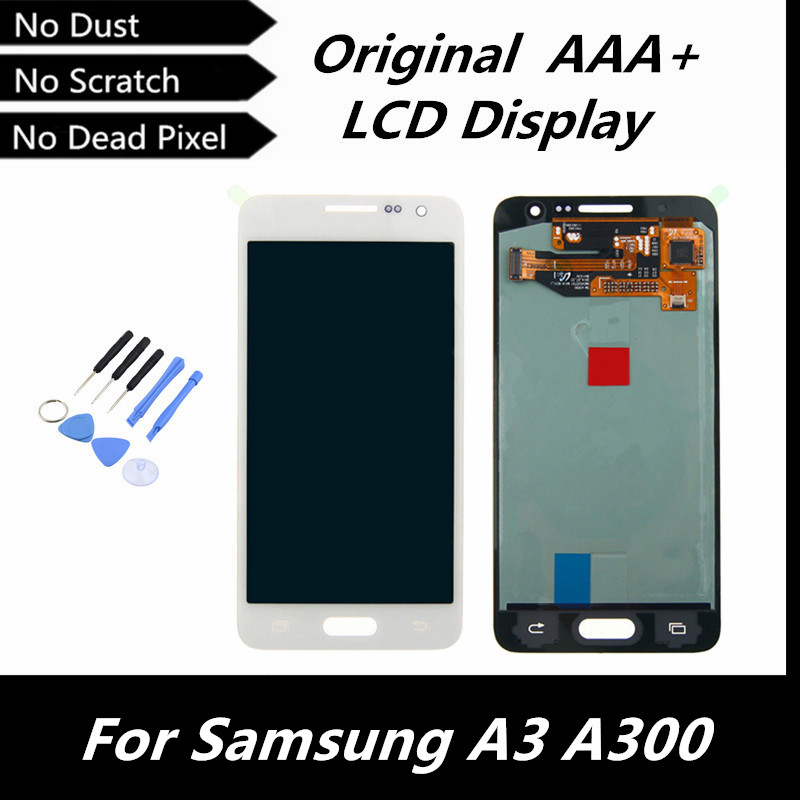 100% Original LCD Replacement for Samsung Galaxy A3 A300 A3000 LCD Display Touch Screen Digitizer Screen White Color +Free Tools<br><br>Aliexpress