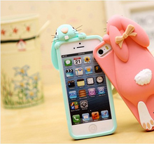 NEW Brand 3D Cartoon Rabbit Bunny Case Soft Silicon Rubber Back Cover For Apple iPhone 4 4S & SE 5 5S 5C & 6 6S & 7 7S & Plus